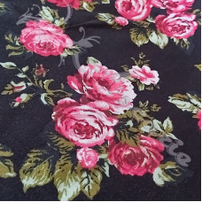 Pink Roses on black Dress Fabric