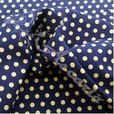 4mm Pea Spot Navy with Cream Spot 100% Cotton Fabric