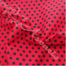 4mm Pea Spot Red with Black Spot 100% Cotton Fabric