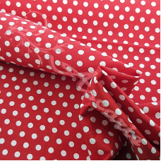 4mm Pea Spot Red with White Spot 100% Cotton Fabric