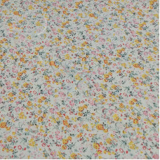 Yellow & Pink Floral  on Cream 100% Cotton