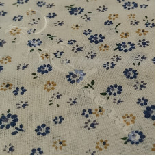 Navy Ditzy Flowers on Cream 100% Cotton