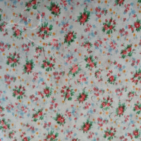 Pink Floral Clusters on white 100% Cotton