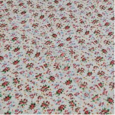 Floral Pink Clusters on white 100% Cotton