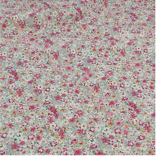 Ditsy Pink Flowers on pastel Green  100% Cotton