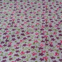 Purple Floral  on white 100% Cotton