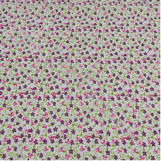 Purple Floral  on white 100% Cotton