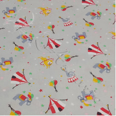 At the Circus on Grey 100% Cotton Poplin