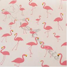 Pretty Pink Flamingo's on white 100% Cotton