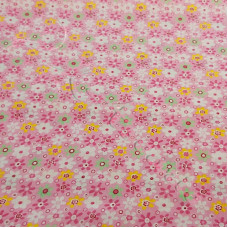Pink Retro Floral 100% Cotton