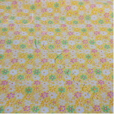 Yellow  Retro Floral 100% Cotton