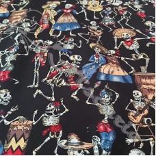 Skeleton Party  100% Cotton Print