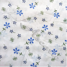 Ditsy Blue Flowers on white Polycotton