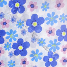 Blue & Pink  Flowers on white Polycotton