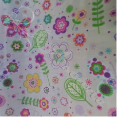 Butterfly's & Flowers on Grey  poly-cotton