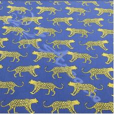 Leopards on Blue PolyCotton