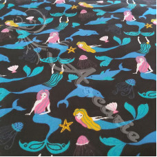Mermaids & Dolphins on Black Polycotton