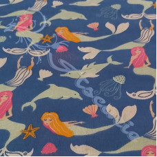Mermaids & Dolphins on Blue Polycotton