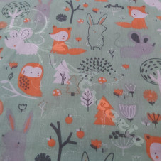 Forest Friends on Green Polycotton