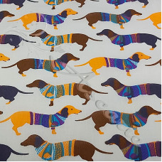 Sausage Dogs with Jumpers PolyCotton