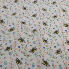 Bumble Bees on White PolyCotton