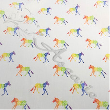 Rainbow Zebras PolyCotton