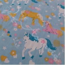 Unicorns on Light Blue Polycotton