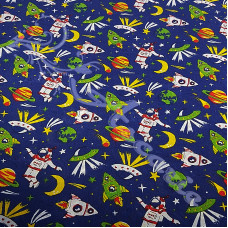 Space Ships & Astronauts on Navy PolyCotton
