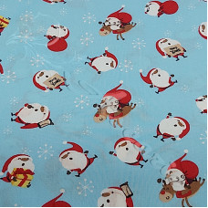 Happy Santa on Blue 100% Cotton from Rose & Hubble