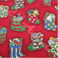 Christmas Stockings on Red 100% Cotton from Rose & Hubble