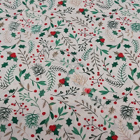 1/2 metre Christmas  Holly Sprays 100% Cotton from Rose & Hubble