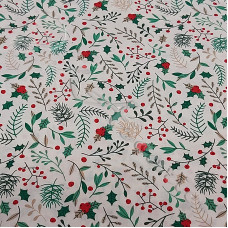 Christmas  Holly Sprays 100% Cotton from Rose & Hubble