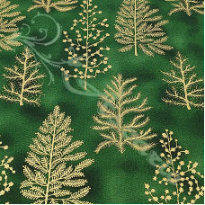 Christmas Sparkling Gold Trees on Green 100% Cotton from John Louden