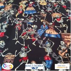 Fat 1/4 Metre Skeleton Party  100% Cotton Print