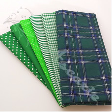 6 Fat Quarter Bundle Green Tartan  PolyCotton (X1)