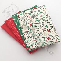 4 Fat Quarter Bundle Christmas 100% Cotton (07)