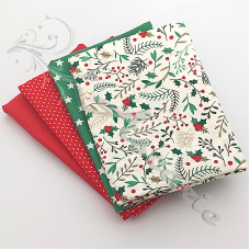4 Fat Quarter Bundle Christmas 100% Cotton (07)