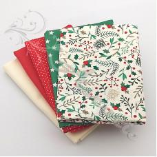 5 Fat Quarter Bundle Christmas 100% Cotton (10)