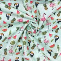 Flamingos, Toucans & Melons Fabric 100% Cotton