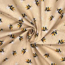 Bumble Bees Beige 100% Digital Cotton Print