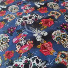 Skulls & Skeletons on Blue 100% Digital Cotton