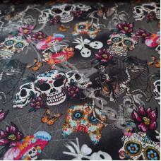Skulls & Skeletons on Grey 100% Digital Cotton