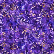 Leafy Trail Batiks  Purple 100% Cotton Poplin