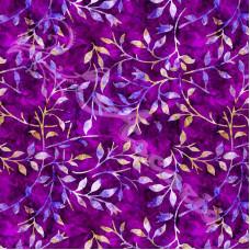Leafy Trail Batiks  Violet 100% Cotton Poplin