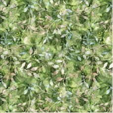 Leafy Trail Batiks  Green100% Cotton Poplin