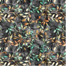 Leafy Trail Batiks Grey 100% Cotton Poplin
