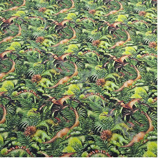 Dinosaurs in the Jungle 100% Digital Cotton