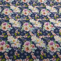 Fat 1/4  Rambling Roses on Blue100% Digital Cotton