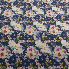 Rambling Roses on Blue100% Digital Cotton