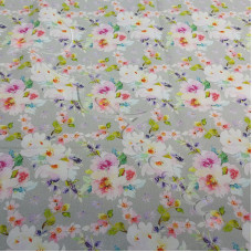 Fat 1/4 Rambling Roses on Grey 100% Digital Cotton